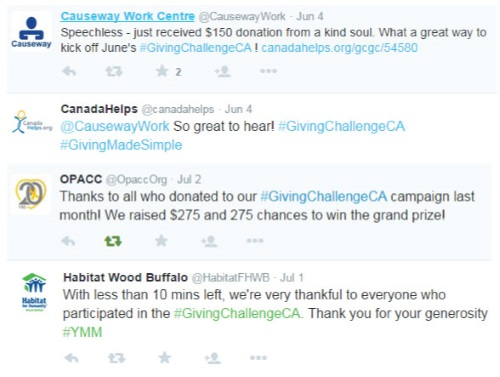 Twitter thanks from charities